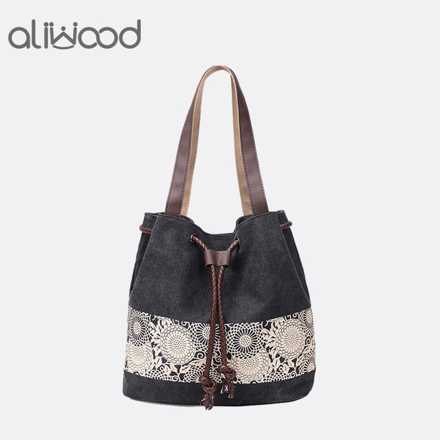 d7697b57bc Hot Sale Canvas Women Bag Female Shopping Handbags Trendy Leisure Printing  Embroidery Tote Beach Bags Ladies