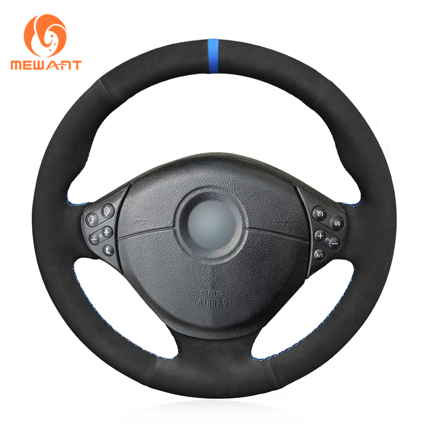MEWANT Black Suede Hand Sew Car Steering Wheel Cover for BMW E39 5 Series 1999 2003