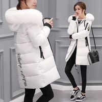 Abrigo de Invierno con capucha y Cuello de piel abrigo largo cálido para Mujer Casaco femenino Abrigos Mujer Invierno 2019 Parkas prendas de vestir Abrigos 1111