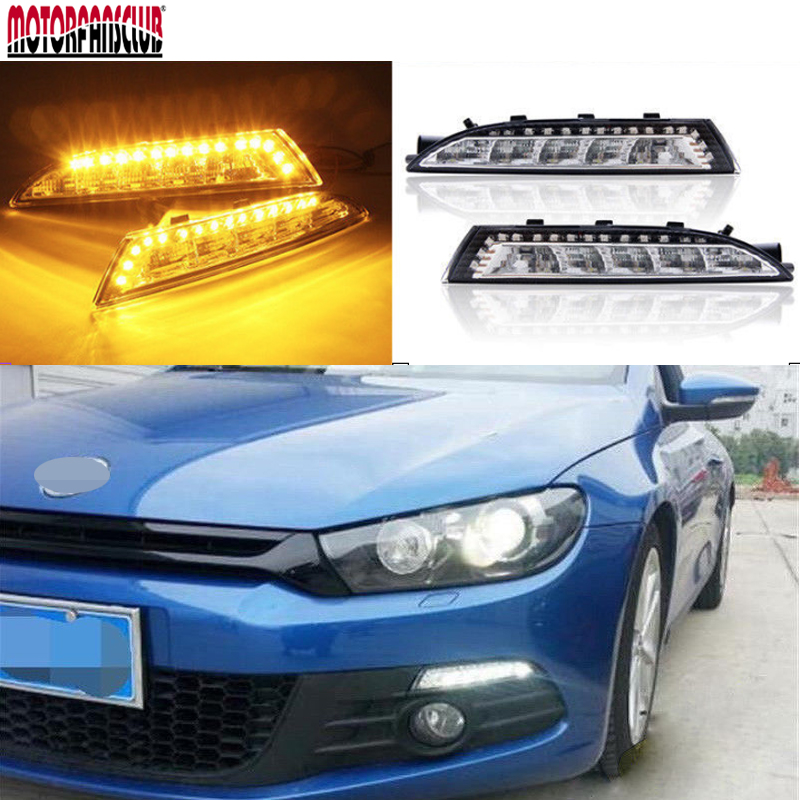 DC 12V 100lm~200lm LED Daytime Running Light With signal turning lights For VW Scirocco DRL 2008 2009 2010 2011 2012 2013 2014 for vw passat b6 2006 2007 2008 2009 2010 2011 pair or left or right led lights drl daytime running lights