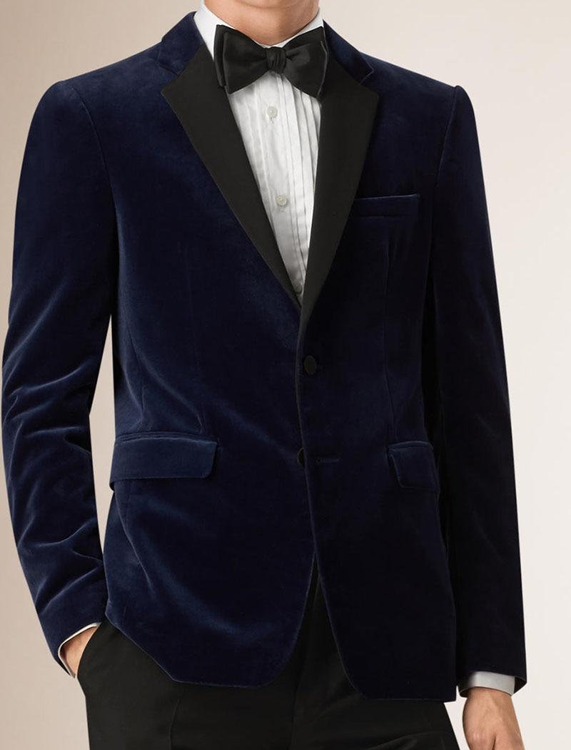Aliexpress.com  Buy Mens Velvet Blazers Custom Made Slim Fit Navy Blue Velvet Blazer Men ...
