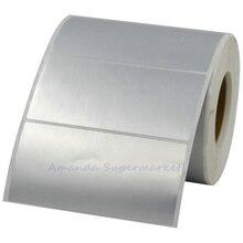 Серебряная бирка для животных наклейка 90*45 мм 800 шт/рулон теплообменная Серебряная бирка для животных Водонепроницаемая непромокаемая маслостойкая этикетка штрих-кода