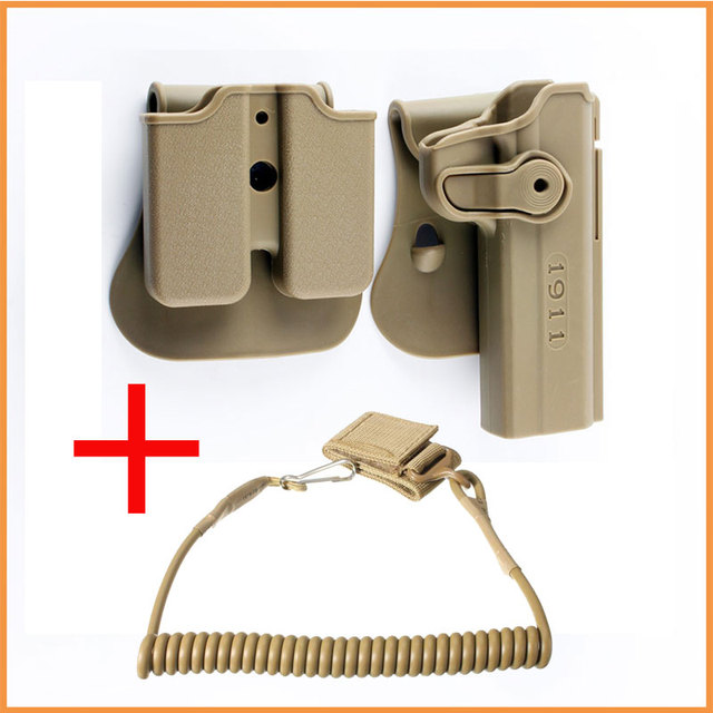 US $6 15 18% OFF|Tactical 1911 Gun Holster Retention Roto Holsters and Gun  Sling Double Magazine Holster for Colt 1911 45 Ruger 90 97 Sig 220 245-in