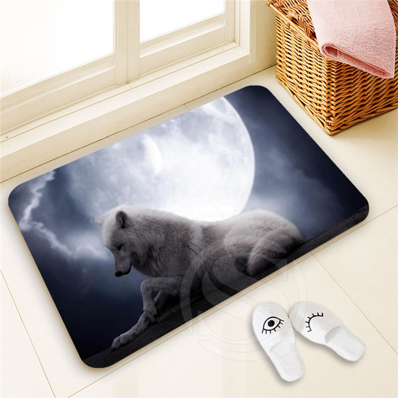 H-P739 Custom WOLF Doormat Home Decor 100% Polyester Pattern Door mat Floor Mat foot pad ...