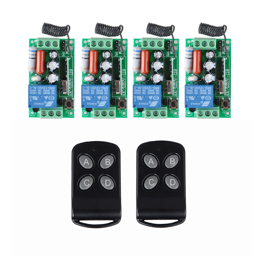 AC 220V 1CH Wireless Remote Control Switch System 4 Receiver 2Transmitter Wireless Light Switch Controller 315Mhz 433Mhz ac 220 v 1 ch wireless remote control switch system 4x transmitter with 2 buttons 1 x receiver light lamp ledon off 315 433mhz