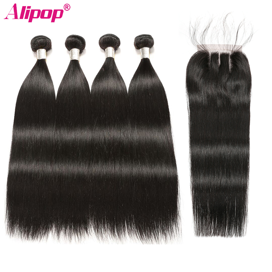 Indian Straight Bundle With Closure Remy Human Hair 4 Bundles With Closures Alipop 4x4 Lace Closure