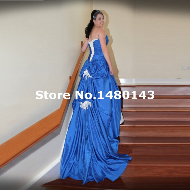 Aliexpress Buy 2016 Royal Blue Mermaid Wedding Dress With Beaded Ruffles Bridal Gowns Robe De Mariage Vestido Noiva Plus Size From Reliable