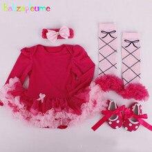 4Piece/0-12Months/Spring Autumn newborn clothing set baby girls bodysuit tutu dress+socks+shoes+Hair band infant clothes BC1312