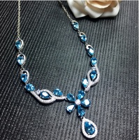 Голубой топаз кулон Цепочки и ожерелья подвеска Природный Голубой топаз 925 серебро Fine jewelry 17 шт. 4*6 мм 1 шт. 5*7 мм