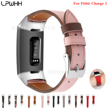 LPWHH Genuine Leather Watchbands For Fitbit Charge 3 Pink Buckle Black Strap Watch Wrist Accessories Soft Bracelet