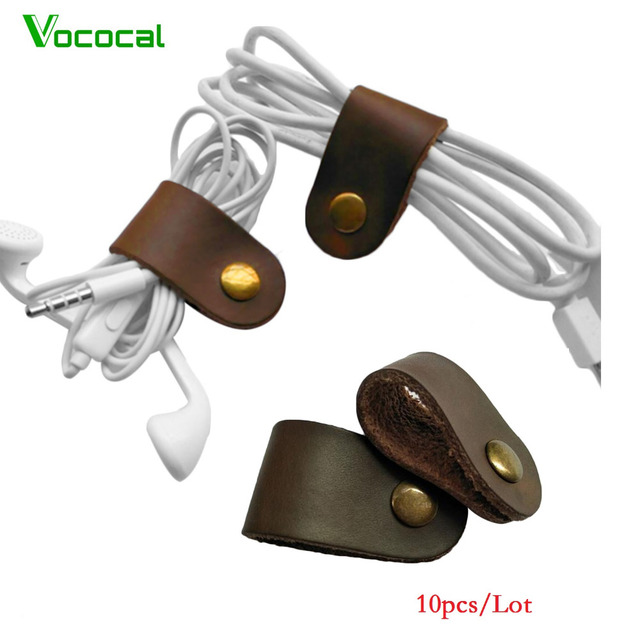 Vococal 10pcs/Lot PU Leather Cable Rope Wire Winder Storage ...