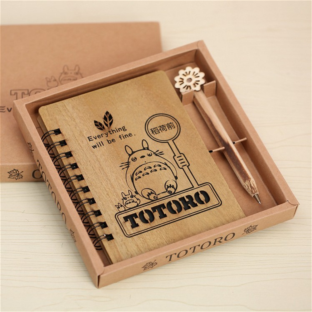1pcs Creative Cute Cartoon Totoro Planner Notebook Diary Book Wooden Chinchilla School Supplies Gift 1pc creative cute cartoon animal planner notebook diary book wooden school supplies student gift