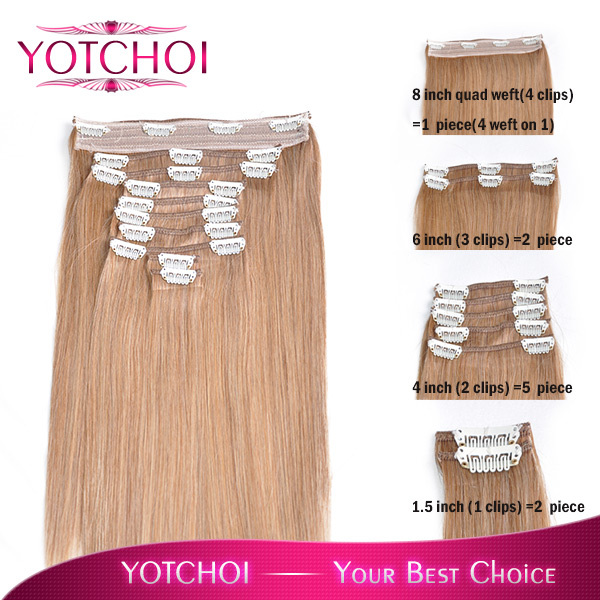 Yotchoi Clip In Sets10wefts Clip In Hair Extensions 14 Light Ash