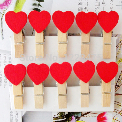 10PCS/lot  Red Heart Wooden Clip Wedding Party Mini Bag Clips Paper Clip Wood Pegs Fashion Special Gift