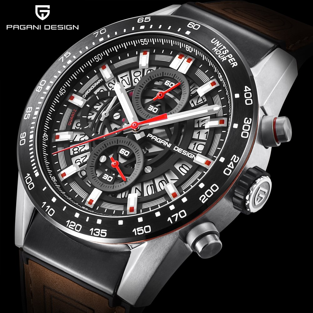 Men watch NEW PAGANI DESIGN luxury brand multi-functional leisure sports quartz watch leather Waterproof Clock relogio masculino цена