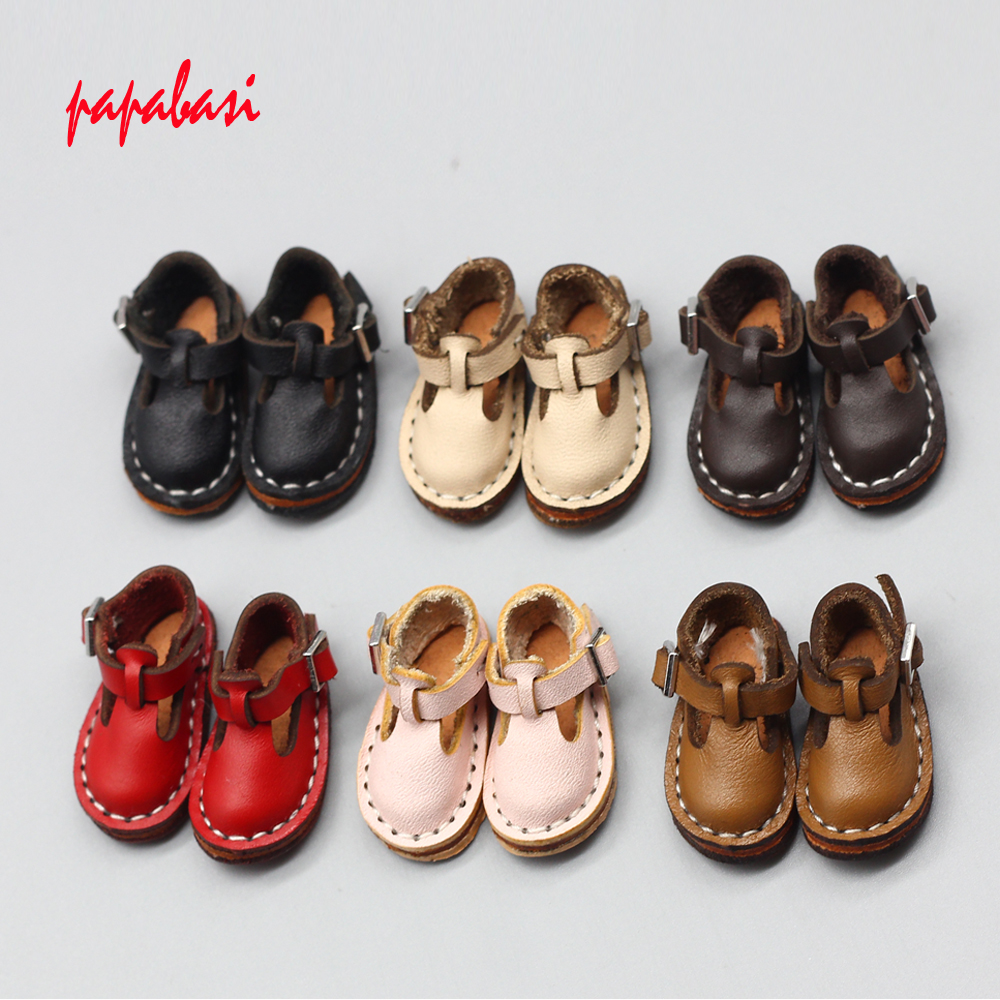 1Pair 3.7*1.6cm Doll Shoes For Joint 1/6 Blyth Doll As Fit 1/8 BJD DOLLS Leather Mini Shoes Accessories Toys
