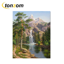 RIHE Mountain Waterfall Diy Painting By Numbers Tree Oil Cuadros Decoracion Acrylic Paint On Canvas Modern Wall Art