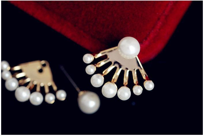 Natural Korean all-match exquisite small pearl after hanging cute white Earrings pair) earring Ohrringe silver-jewelry
