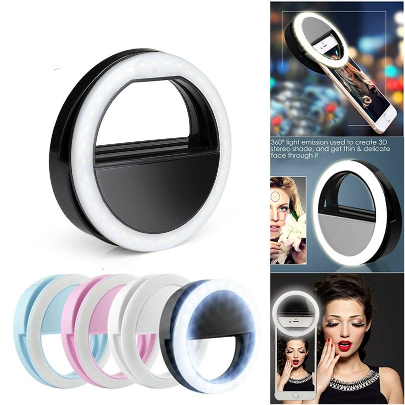 Mobile Phone Fill Light Beauty Device LED Flash Phone Light External Self-timer Lamp Round Flash Mobile Spotlight CL110421