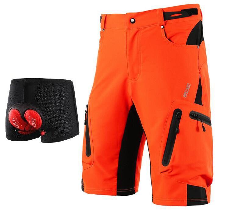 ARSUXEO Mountain Bike Shorts de Ciclismo Homens DH MTB Downhill Shorts Soltos Fit Opcional 3D Roupa Interior Acolchoado