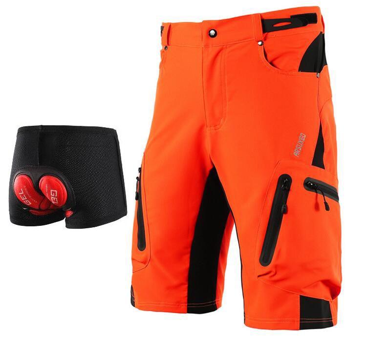 Arsuxeo mountain bike ciclismo shorts men dh mtb downhill shorts solto caber opcional 3d acolchoado roupa interior