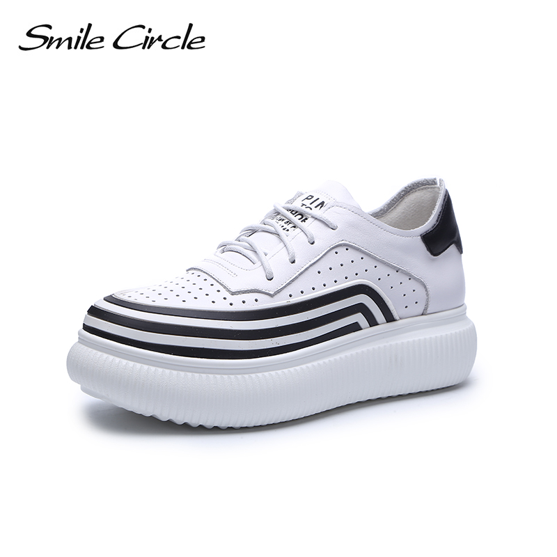 Smile Circle Spring Autumn Sneakers Women Lace-up Flats Platform Shoes Women sneakers Fashion Casual Shoes tenis feminino 2018 women casual shoes canvas shoes women sneakers zapatos fashion summer spring breathable comfortable footwear tenis feminino my4