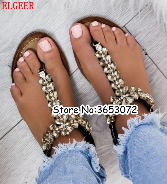 bling bling women Rhinestones embellished Chains Flat Sandals plus size Thong Crystal Flip Flops sandals gladiator sandals flip-flops