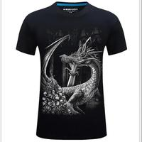 ZEESHANT Summer Dragon 3D Digital Printed Tees O Neck Short Sleeve T Shirts Women Tops T