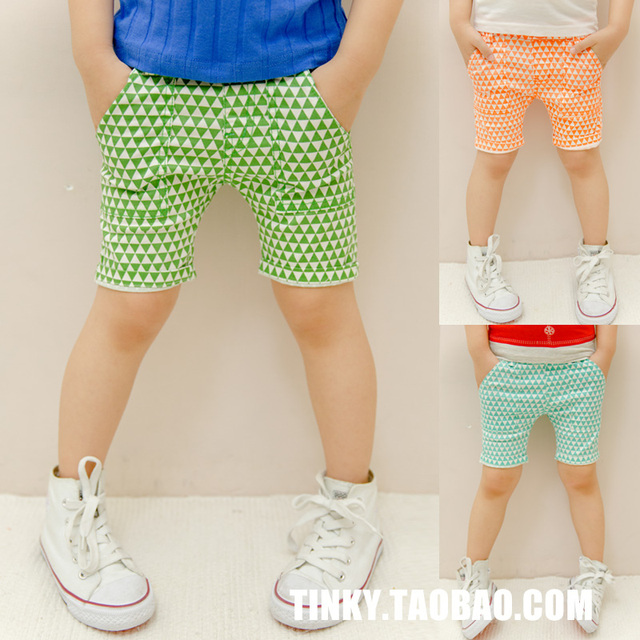 2013 summer children's clothing male female child shorts triangle pattern knee-length close-fitting pants child capris 64