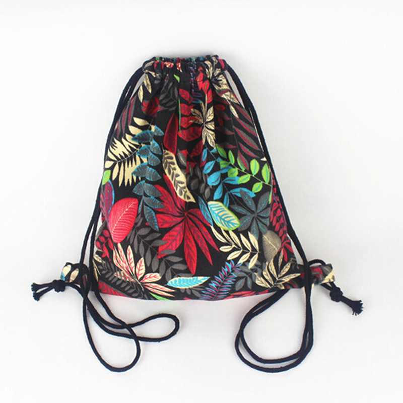 Gym Drawstring Travel Shoulder Bags Backpack Canvas Draw String Bucket Bag