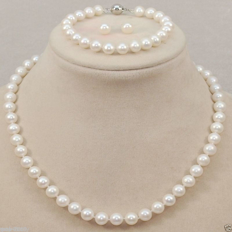 Hot sale new Style >>>>Pretty 8-9MM White Fresh water Pearl Necklace + Bracelet + Earring Jewel Set