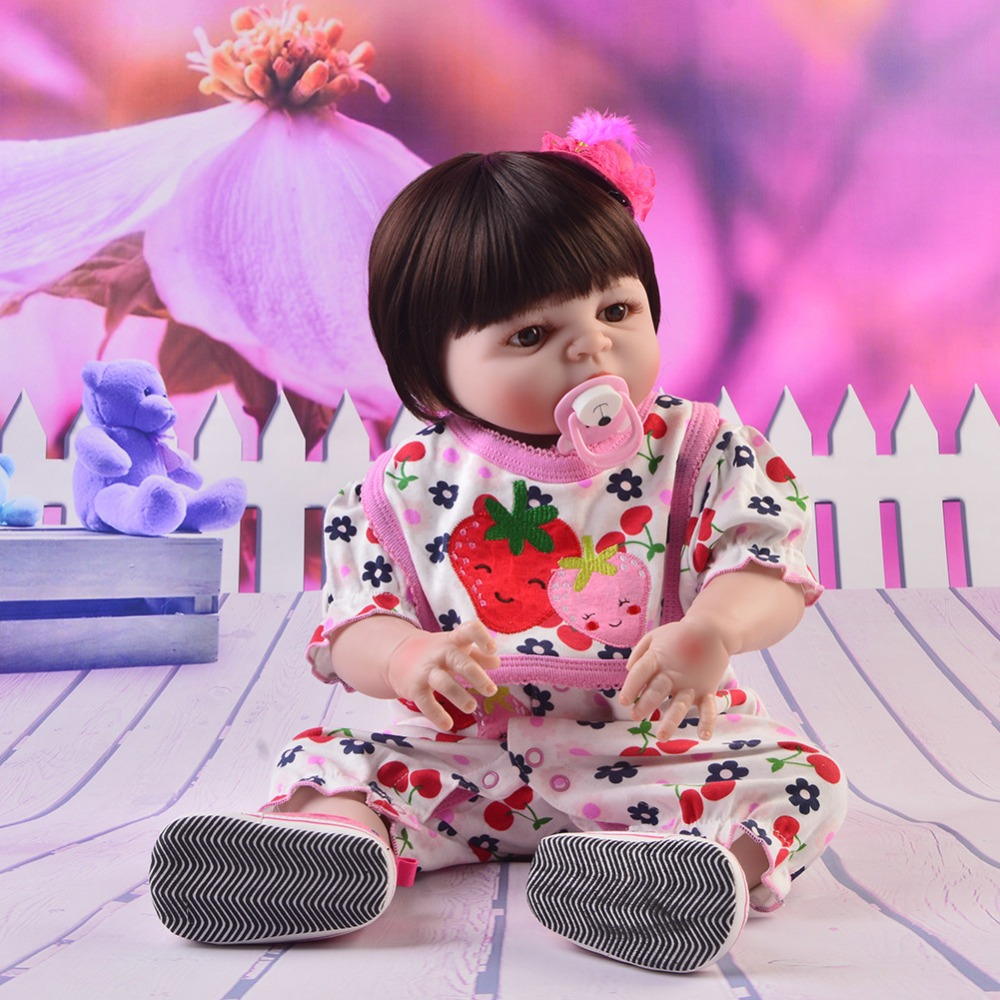 Cartoon 23 Inch Reborn Baby Girl Dolls Touch Real Full Silicone Vinyl Body Reborn Doll DIY Toy For Kids Birthday Christmas GiftCartoon 23 Inch Reborn Baby Girl Dolls Touch Real Full Silicone Vinyl Body Reborn Doll DIY Toy For Kids Birthday Christmas Gift