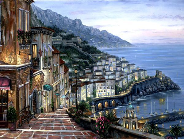 free shipping Mediterranean Seaside building night lights scenery oil painting canvas prints on canvas art decoration picture