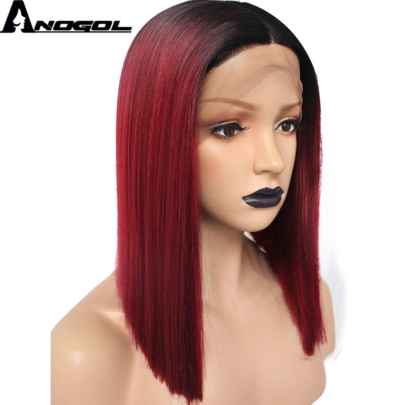 Anogol Wine Red Bob 14'' Synthetic Lace Front Wigs Short Straight  For Woman Black Roots Classic Middle Part