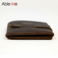 Creative Hand Made And Custom Made Men Wallet Short Section One Leather Purse Design For Business