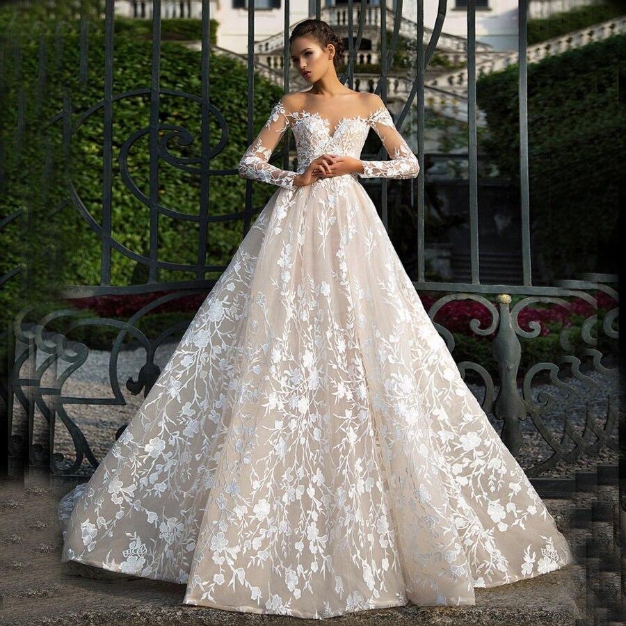 Amanda Novias New Design Charming Overlay Lace A Line Long Sleeve Wedding Dress 2019