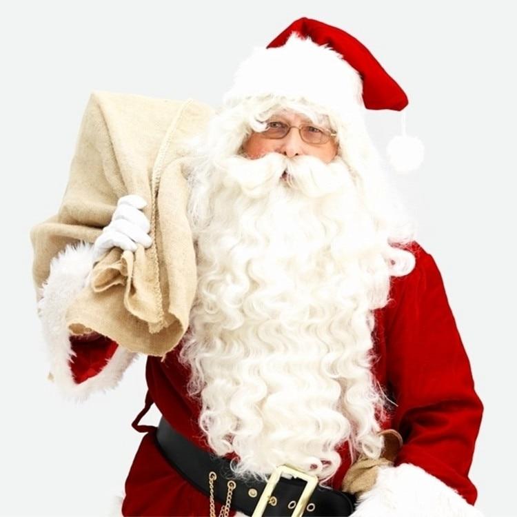 free shipping Deluxe Santa Christmas Santa Claus Hat+ Wig + Beard Set Christmas Fancy Dress Claus Beard Heat Resistant Cosplay