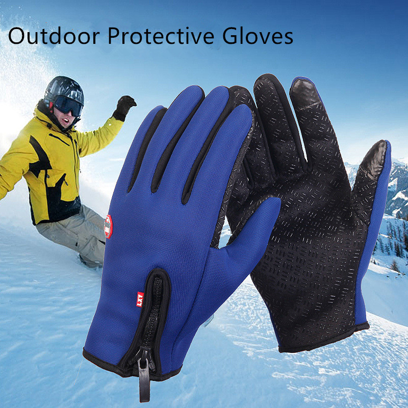 1Pair Defesa Pessoal Outdoor Protective Guantes De Algodon Waterproof Winter Ski Gloves For Fishing Hunting Cycling
