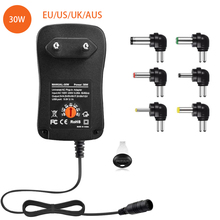 Adaptador Universal de CA de 30W, 3V 4,5 V 5V 6V 7,5 V 9V 12V Multi adaptador de tensión fuente de alimentación conmutada con 6 puntas seleccionables enchufe