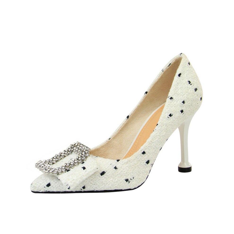 Poadisfoo Chaussures Simples Laine Femmes Peu À Boucle Talons Ds Tissu Bouche Profonde Haute 278 Pointu Métal blanc Noir 10 En Arc Strass Hauts Doux xwxrap