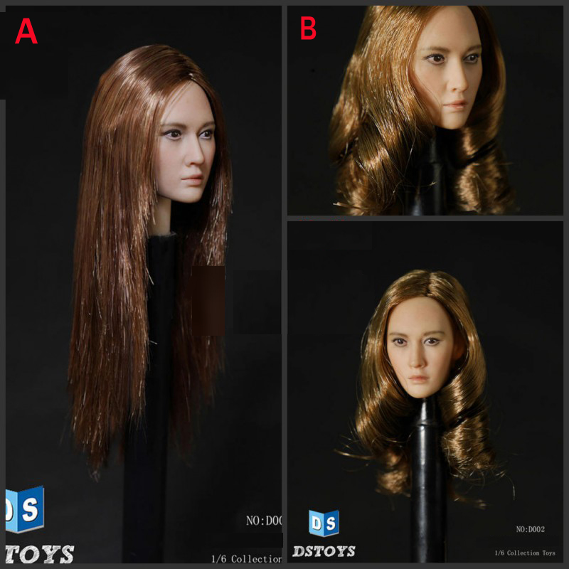 DSTOYS D-002 1/6 Female Head Sculpt with A Straight Hair / B Curls Hair for 12 Collectible PH HT Toys Action Figure DIY dstoys d 005 1 6 scale female head sculpt beauty girl headplay long curly hair for 12 ht phicen action figure