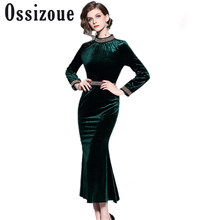 Ladies Green Velvet Bodycon Party Dresses Robe Femme Hiver 2018 Autumn Winter  Long Sleeves Maxi High Quality Dress Jurken Pull f27df6d02e13