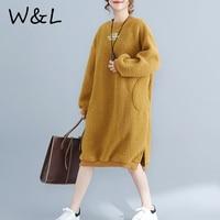 Women Dresses Long Sleeve Oversized Thicken Warm Fleece Flocking Winter Autumn Fashion Loose Female Vestidos Clothing