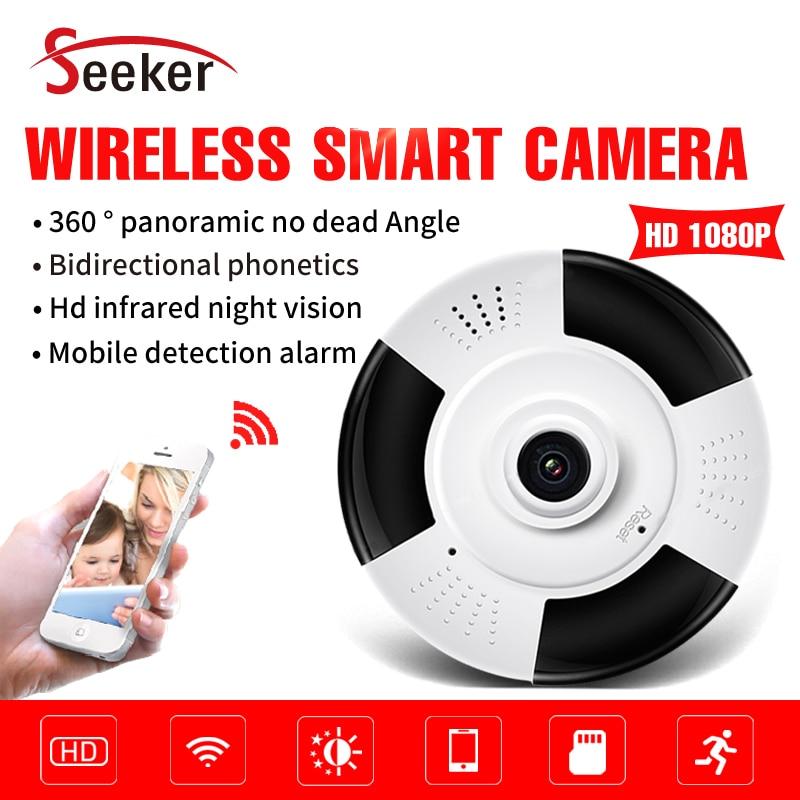 Nouveau 360 degrés Fisheye panoramique sans fil caméra téléphone intelligent vue 1080 P bébé moniteur Audio TF carte P2P nuage Wifi caméra