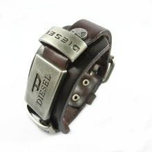 2015 NEW arrive Genuine Leather bracelet men for women retro punk cowhide Bracelets homme 100% hand made