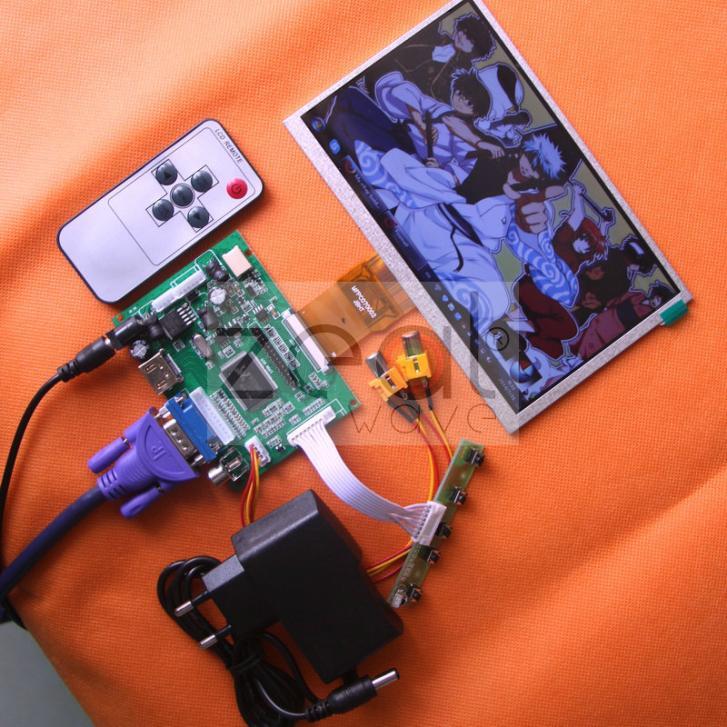 5pcs/Lot HDMI/VGA/2AV+Reversing Driver board+DC 12V1A Power Supply+7inch LCD Display 800*480 165*100mm hdmi vga 2av reversing driver board 8inch at080tn52 800 600 lcd panel