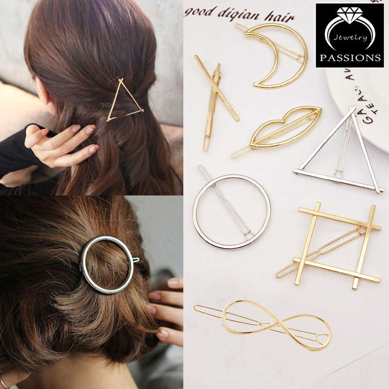 Hot Sale Fashion Gold Silver Metal Round Triangle Geometry Hair Clips Barrettes Hairpin För Women Headwear Dekorativa Smycken