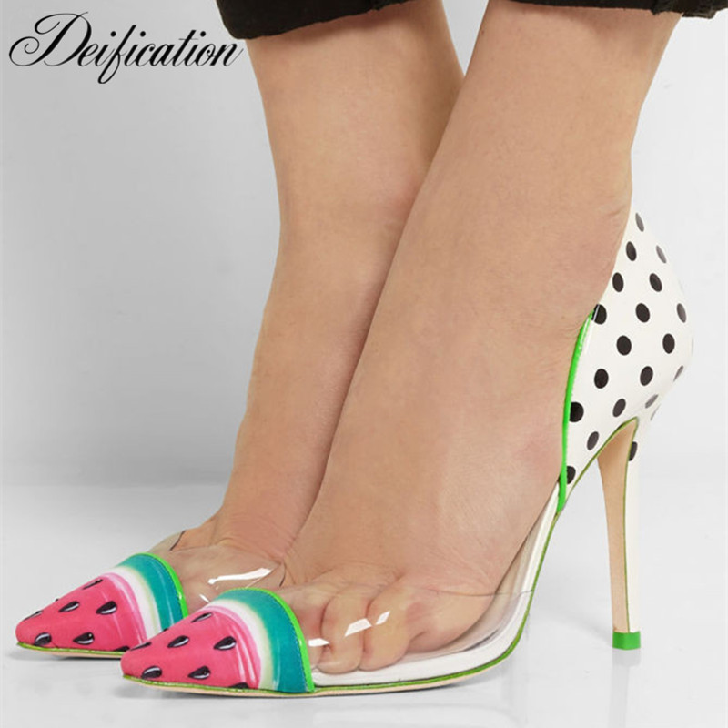 Deification Sexy Pointy Toe Women Pumps Sweet Watermelon High Heels Fashion Rome Style Formal Party Wedding Dress Shoes Zapatos