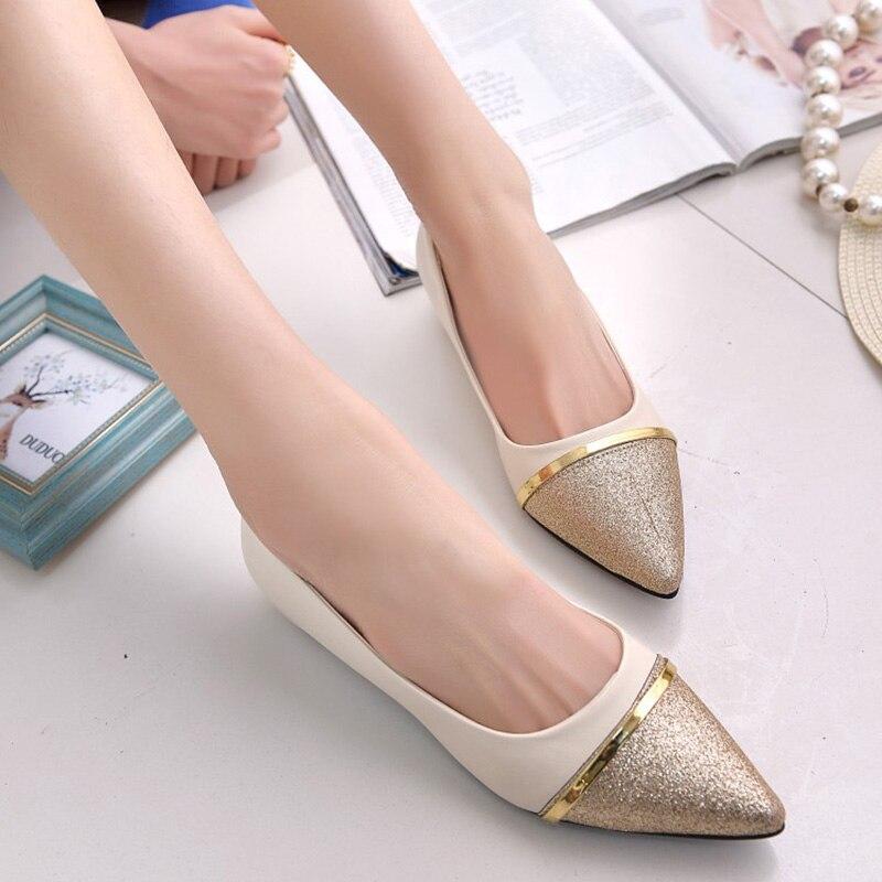 Women Shoes Moda Punta estrecha Slip-On Zapatos Planos de La Mujer zapatos Cómod