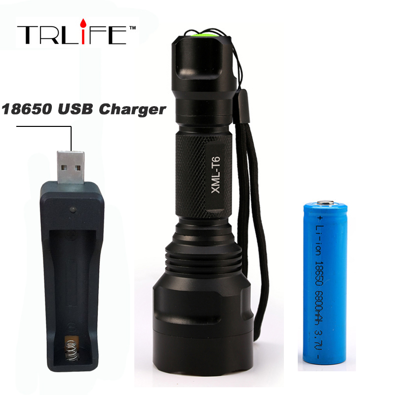 6000 Lumens Flashlight LED CREE XM-L T6 Torch 5 Mode Tactical Flashlight Camping Light Lamp + 18650 Battery + USB Charger led tactical flashlight 501b cree xm l2 t6 torch hunting rifle light led night light lighting 18650 battery charger box